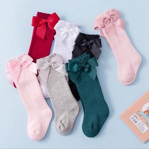 Baby Girl Socks Spanish Style Big Bow Floor Socks Cotton Kids Socks Knee High Baby Pantyhose Infant Girls Footwear 7 Colors DW5332
