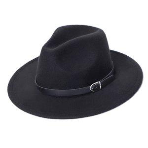 Chapeau Femme Hiver'de feutre Fedoras Chapeau Erkekler Kış Kadın Şapkalar Erkek Moda Siyah Üst Caz Hat Sombrero Mujer Akşam Şapka Keçe