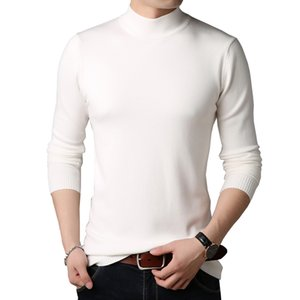 BROWON Men Brand Sweater Colorful Sweater Slim Fit Sweaters Men Casual Solid Color Turtelneck Youth Knitwear