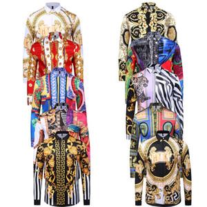 2018 più nuova ondata di moda degli uomini 3D stampa floreale camicie casual per uomo casual harajuku camicie maniche lunghe uomini Medusa camicie