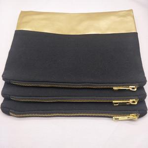 10pcs 7x10in 12oz bolsa de cosméticos de lona negra con fondo de PU de oro 12oz bolsa de maquillaje de lona negra en blanco con cremallera de metal dorado fábrica en stock