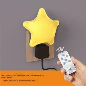 Night foam plug-in nursing remote control luminous socket energy-saving baby headlight desk Headboard lamp bedroom bedside sleep eye protect