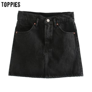 toppies summer black denim mini skirts high waist a-line skirts for womens faldas streetwear 2020 fashion CX200703