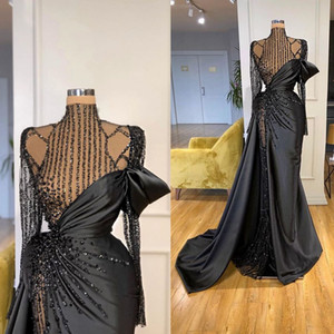 Elegant Evening Dresses High Collar Long Sleeves Lace Beads Satin Prom Gowns 2021 Custom Made High Side Split Special Occasion Wear