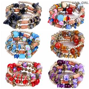 Fashion Multilayer Bohemian Beads Crystal Bracelet Vintage Charm Bracelets Women Ethnic Tibet Imitation Natural Stone Bangle W9