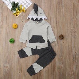 Newborn Kids Boy Clothes Autumn Winter Shark Hooded Tops+Pants 2PCS Outfits UK