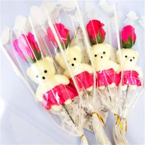 Ours Simple Savon Fleur Ours Simulation Branche Une seule rose fleur artificielle pour les enseignants Saint-Valentin cadeau Promotion Jouets 0 98hs H1