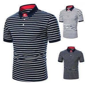 Shirt Casual Mens Verão Manga Curta de Slim lapela pescoço masculino Tees duas cores Striped Impresso POLO