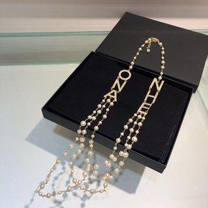 Collier fantaisie concepteur lettre marque chaîne chandail pour femmes dame cadeau Party Lovers mariage de fiançailles bijoux de luxe pour la mariée avec la boîte