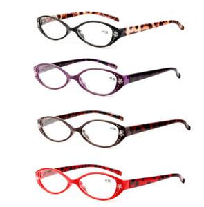 Leopardo Gafas de lectura Lectores Presbicia + 1.0 / + 1.5 / + 2.0 / + 2.5 / + 3.0 / + 3.5 Crystal Rhinestone Decoración Presbyopic Eyewear LJJK1479