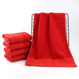 مصنع القطن المباشر الحمراء منشفة زفاف سوبر ماركت اليومية هدية منشفة 110G سميكة لينة شعار مخصص بالجملة