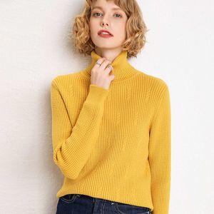 Sherhure 2020 Autumn Turtleneck Knitting Pull Mulheres manga comprida camisola branca e pulôveres Femme Tricot