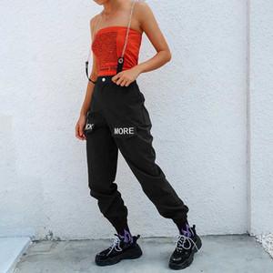 Rapwriter Hip Hop Cadenas remiendo bordado de la letra mujeres de los pantalones de cintura alta elástico 2020 negros de los pantalones capris pantalones femeninos