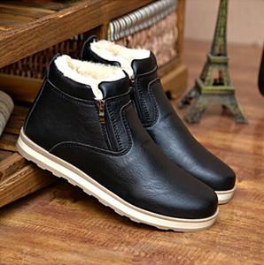 LZJ New 2019 Größe 39-44 Männer-Winter-warme Stiefel Freizeitschuhe Men Fashion Plüsch-Schnee-Stiefel Stiefeletten Pelz Leder Schuhe