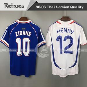 1998 프랑스 RETRO VINTAGE 축구 유니폼 98 ZIDANE HENRY MAILLOT DE FOOT 2006 흰색 태국 품질 유니폼 Football Jersey 셔츠