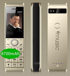 Luxo Retro telefone celular D9000 8700mAh enorme super telefone bateria Powe banco duplo de rádio forte lanterna FM clássica homem Celular Velho