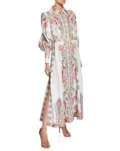 Hermosa 2019 Solapa Cuello Puff Mangas Largo Vestido de mujer Diseño Anacardo Estampado Lado Lateral Milan Runway Vestido yy-83