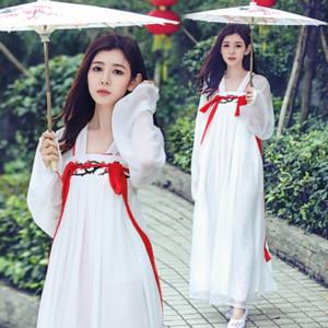 Weiß Chinese Traditional Hanfu Kostüm Frauen-Prinzessin-Tanz Kleidung für Mädchen-Dame-Tang-Dynastie Outfit Chinesische alte Kleidung