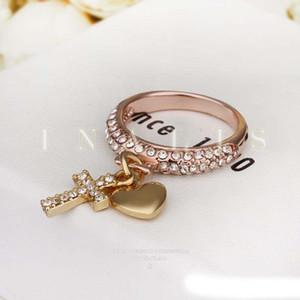 Anneaux de coeur Beautifully Rose Gold Filled Wedding Brands Chine Wholesale 18K Gold Diamond Bagues de Fiançailles De Mode Bijoux Cross Diamond Bagues