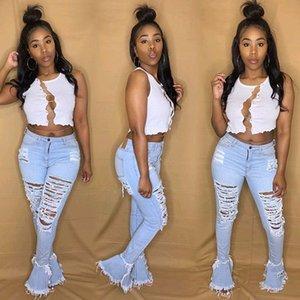 Mais recente Moda Mulheres Jeans Buracos Ripped Tassel Ruffles de Bell inferiores longas Jeans alta cintura apertada Alargamento Pants Meninas Calças 2.020 INS