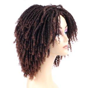 Lans Dreadlock Crochet Torça perucas de cabelo curto macio Bouncy Curly sintético perucas para mulheres negras Synthetic Crochet Alma Locs Braid Perucas
