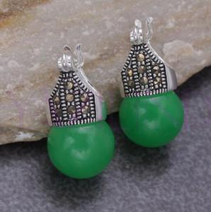 925 al por mayor de plata buena whosale grano redondo de plata pendientes elegantes de Tíbet de piedra de 5,29 para las mujeres para las mujeres