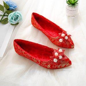 rote Spitze Zehen Hochzeit Schuhe Perlenkugelblume Goldlinie sticken Mokassins single / Plüsch flach plus Größe 43 schwangeren Frauen Schuhe