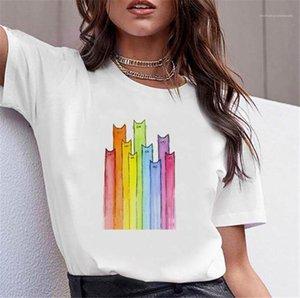À manches courtes confortable Hauts coloré Cat imprimé femmes T-shirts ras du cou Casual T-shirts blanc