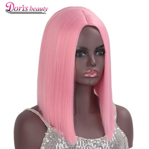 Doris beauty Lolita Pink Wig Synthetic Short Wigs for Women Cosplay Bob Blue Black Purple Brown Ombre Blond Orange Grey Red Wig