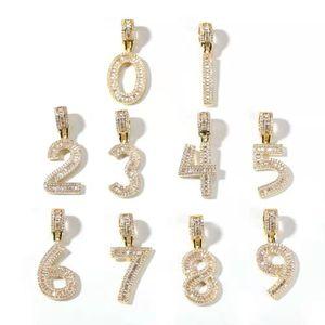 ghiacciato fuori 0-9 $ mens numero collana uomini donne design di lusso bling numeri di diamanti ciondolo zircone placcato regalo di amore gioielli in oro 18k