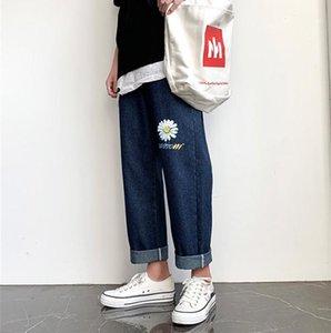 Размер Light Омывается Wide штанину подростковая Street Style Брюки мужские Daisy Письмо печати Jeans весна лето Дизайнер Straight Plus