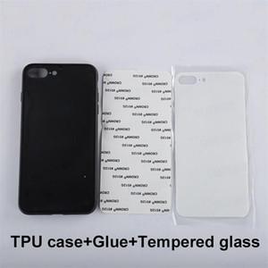 Custodia in vetro temperato stampato bianco con adesivo per Sublimation Heat Transfer Cover per iPhone Xs Max Xr Xs X 7 Plus