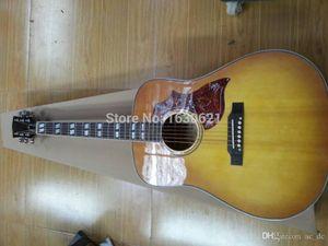 Custom Shop 41 pouces Humming Tobacco Sunburst Acoustic Guitare électrique, Split Parallelogram Fingerboard Inlay, Tortue Rouge Pickguard