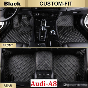 SCOT All Weather Leather Car Floor Mats for Audi A8 Waterproof Anti-slip 3D Front & Rear Carpet Custom-Fit Left-Hand-Driver-Model