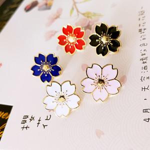Broche flor de cerezo Oro Plata Pin Buttons Pins Distintivos para los bolsos estilo japonés joyería broche de la flor del regalo para niñas