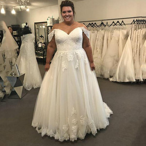 Custom Made Off Shoulder Plus Size Lace Wedding Dresses with Appliques Short Sleeves Tulle Wedding Bridal Gowns robes de mar