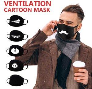 Máscara de moda anti-poeira Cotton Mouth da expressão da face dos desenhos animados Black Pattern Máscara Boutique Unisex Saúde Ciclismo Respirador