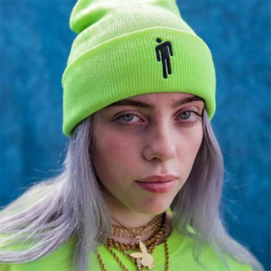 Billie Eilish Beanies Hüte Winter für Frau Little Man die Stickerei Strickmützen Man Autumn Hat Female Hip-Hop-Beanie Mütze