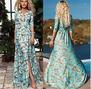 Takviyesiz Çiçek Baskılı Bayan Maxi Elbiseler Yaz Mavi Renk Yarım Kol Bölünmüş Elbiseler Moda V Yaka Elbise