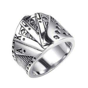Luxury Jewelry Stainless Steel Ring Men Straight Flush Playing Cards Personality Gothic Vintage Gothic Band Ring Gift New High Quality