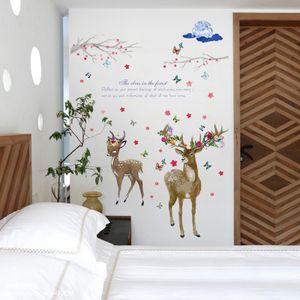 20190623 PVC decorativo da etiqueta da parede do ramo dos cervos e da flor