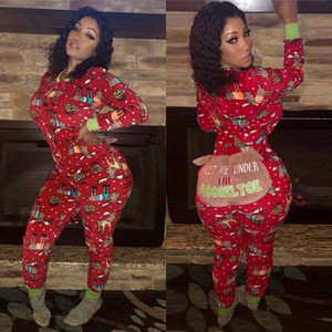2019 Autumn Women Sexy Long Sleeve Jumpsuits Fashion Ladies Christmas Red Print Romper Long Pants Bodycon Christmas Clotheses