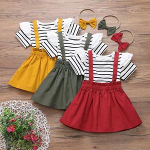 3pcs tout-petits enfants bébé fille Vêtements Sets à manches longues rayé 1-6Y Haut T-shirt robe sangle Bib Set Outfit