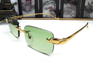 marka manda düz ayna gözlük lunettes klasik alaşım leopar çerçevesiz dikdörtgen lensler güneş gözlüğü gafas seçim için 6 renk