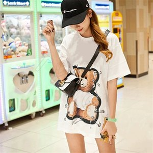 Summer new fashion round neck paper clip letter paper clip bear hot stamping loose couple short sleeve T-shirt