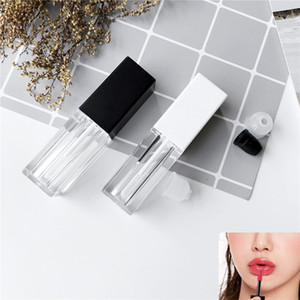 Lip Gloss Empty Tube DIY Lipstick Bottle Lip Tube Container With Cap Clear Black White Cosmetic Sample Container