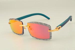 عام 2019 بيع مجاني جديد عدسة نقش نظارات شمسية 8300915 ذراع زرقاء طبيعية أيضا نظارات ، unisex ، عدسة سماكة 3.0