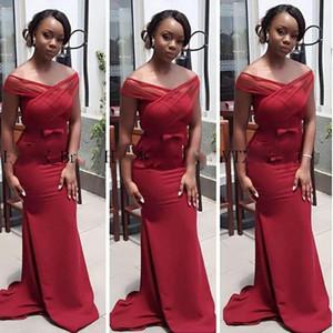 긴 인어 이브닝 드레스 새로운 2020 아프리카 흑인 소녀 어깨 부르고뉴 새틴 댄스 파티 드레스 가운 지정 해제