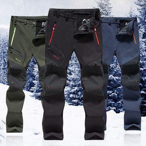Winter Männer Frauen Wanderhosen Outdoor-Softshell Trousers wasserdicht winddicht Trekking Radfahren Angeln Skifahren Fleece Hosen