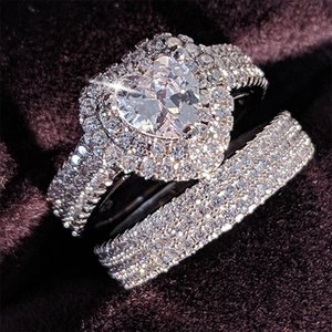 Anéis baratos originais 925 prata esterlina coração corte zircão casamento conjunto anel para as mulheres do acoplamento da noiva Jóias Banda eternidade nigéria R4864